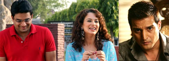 R Madhavan, Kangna Ranaut and Jimmy Shergill in Tanu Weds Manu
