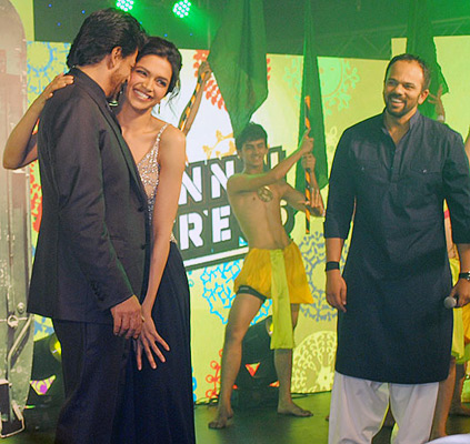 Shah Rukh Khan, Deepika Padukone and Rohit Shetty