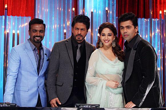 Remo D'Souza, Shah Rukh Khan, Madhuri Dixit and Karan Johar