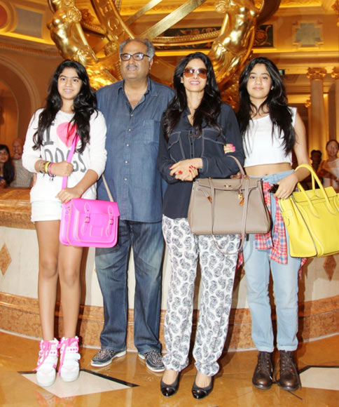 Khushi, Boney Kapoor, Sridevi and Jahnvi Kapoor