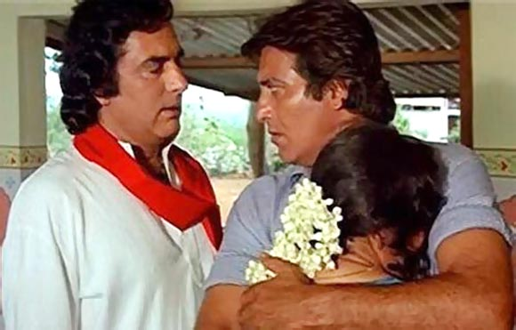 Feroz Khan, Vinod Khanna and Madhuri Dixit in Dayavan