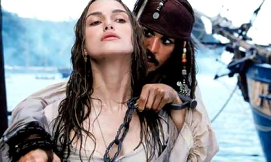 Johnny Depp and Keira Knightley in Pirates Of The Caribbean: At World's End