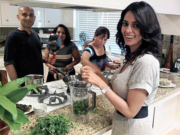 Mallika Sherawat cooking with her friends