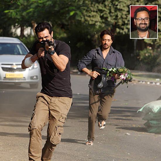 Arjun Rampal and Irrfan Khan in D Day. Inset: Director Nikhil Advani