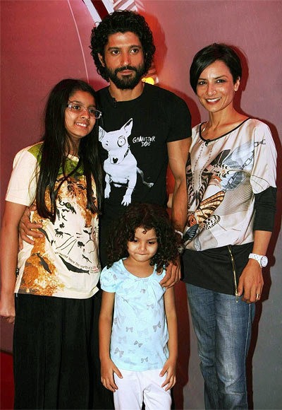 Farhan and Adhuna Akhtar with Shakya and Akira