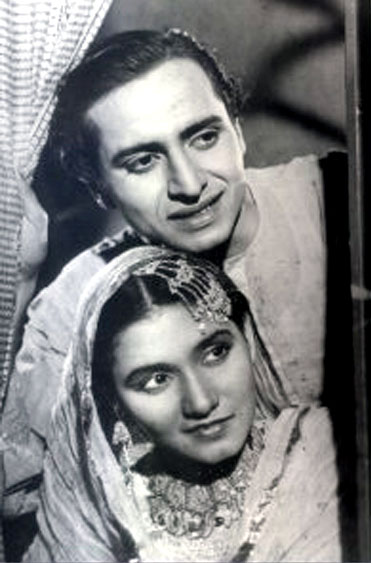 Pran with costar Anjana in his debut film Yamla Jat