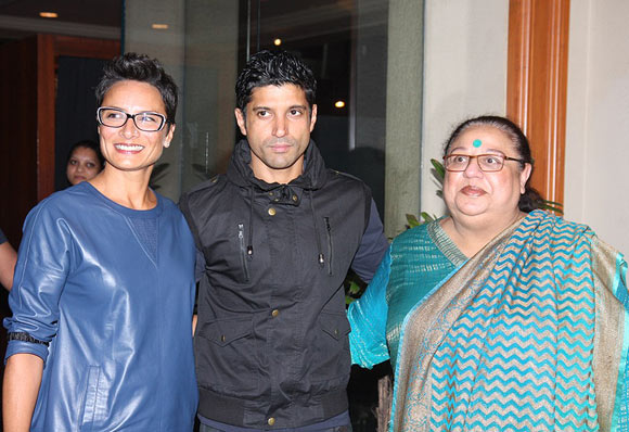 Farhan Akhtar with Adhuna and Honey Irani