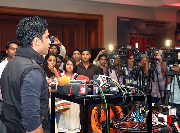 Farhan Akhtar speaks to the media