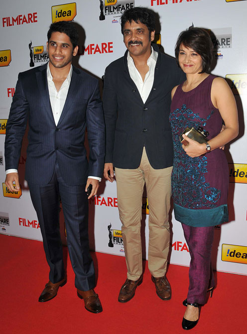 Naga Chaitanya, Nagarjuna and Amala