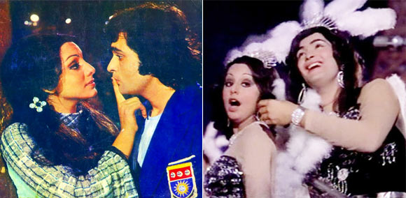 Rishi Kapoor with Neetu Singh in Khel Khel Mein (left) and in Rafoo Chakkar