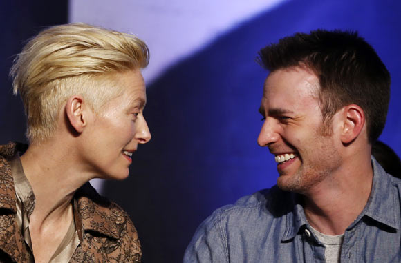 Tilda Swinton and Chris Evans