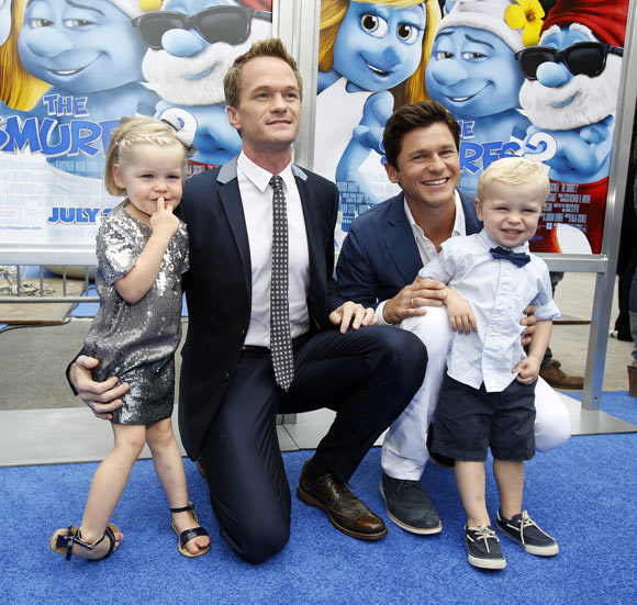 Neil Patrick Harris and David Burtka with twins Gideon Scott and Harper Grace