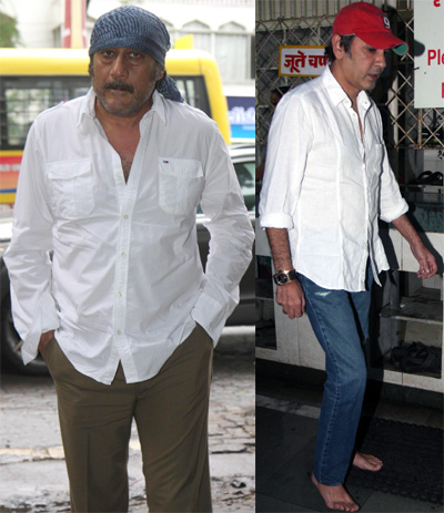 Ctors jackie shroff and kumar gaurav arrive to pay their respects to