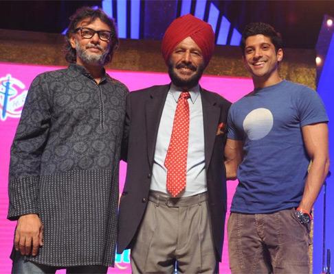 Rakeysh Omprakash Mehra with Milkha Singh and Farhan Akhtar