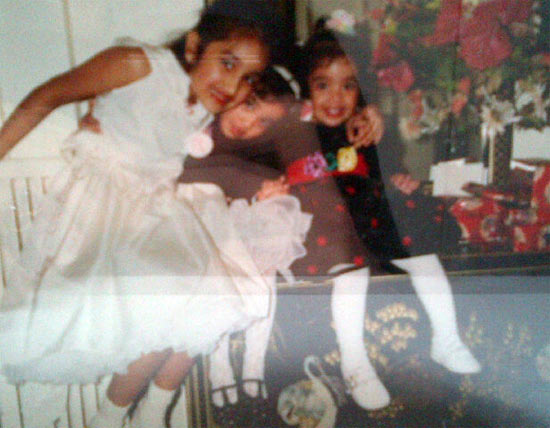 Jiah Khan (in white) with her younger sisters
