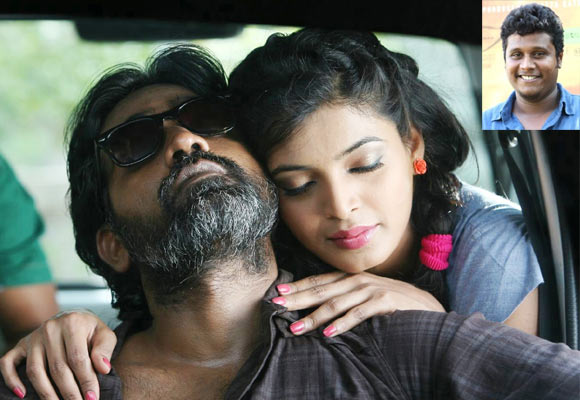 Vijay Sethupathi and Sanchita Shetty in Soodhu Kavvum. Inset: Director Nalan Kumarasamy