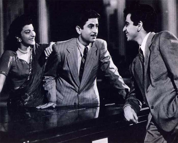 Nargis, Raj Kapoor and Dilip Kumar in Andaz