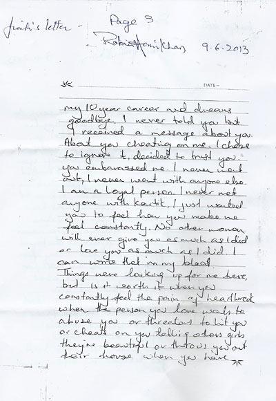 Jiah Khan's last letter