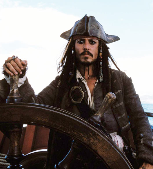 Johnny Depp in Pirates Of The Carribean: The Curse Of The Black Pearl