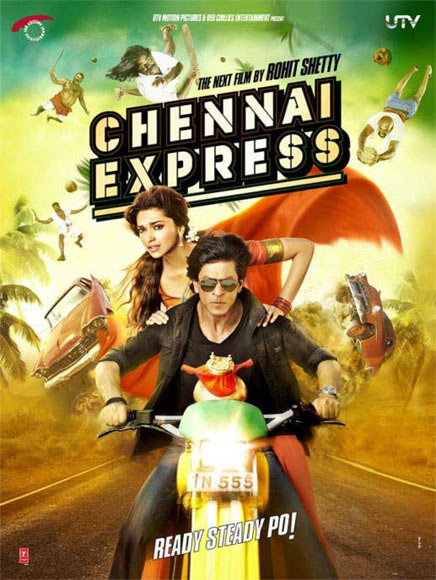 Shah Rukh Khan and Deepika Padukone on the poster of Chennai Express