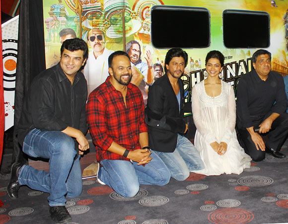 UTV CEO Siddharth Roy Kapur, director Rohit Shetty, Shah Rukh Khan, Deepika Padukone and UTV head Ronnie Screwvala