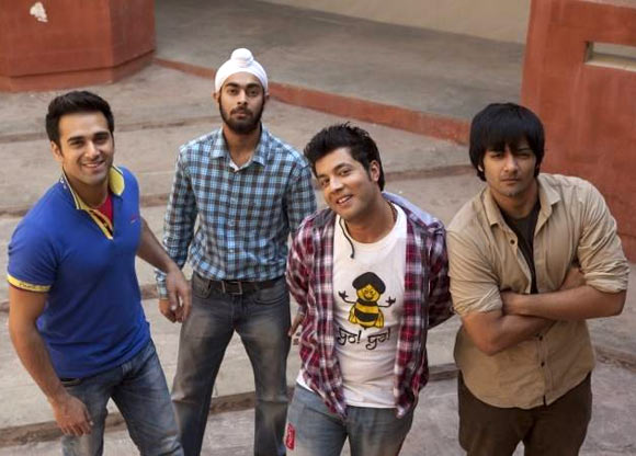 Pulkit Samrat, Manjot Singh, Varun Sharma and Ali Fazal in Fukrey