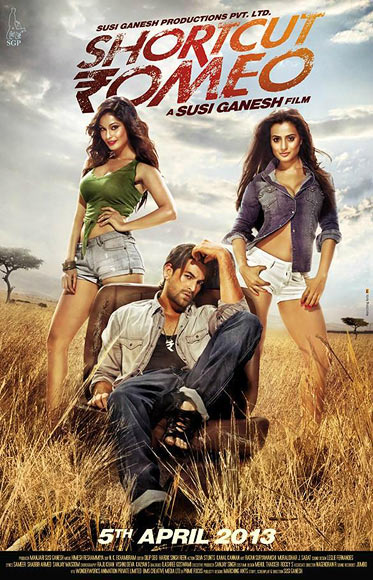 Puja Gupta, Neil Nitin Mukesh, Ameesha Patel in the poster of Shortcut Romeo