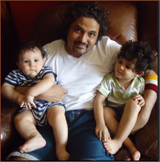 Kaizad Gustad with his sons