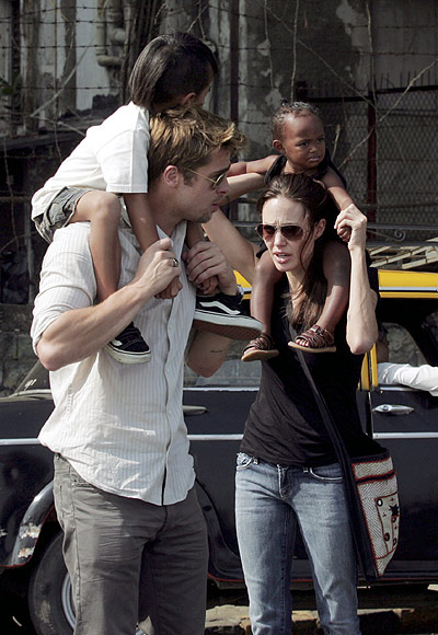 Brad Pitt and Angelina Jolie with Maddox and Zahara