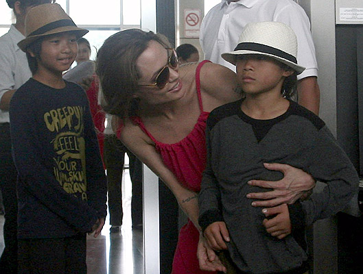 Angelina Jolie with Pax Thien (right) and Maddox