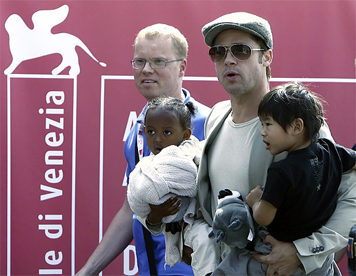 Brad Pitt with Zahra and Maddox