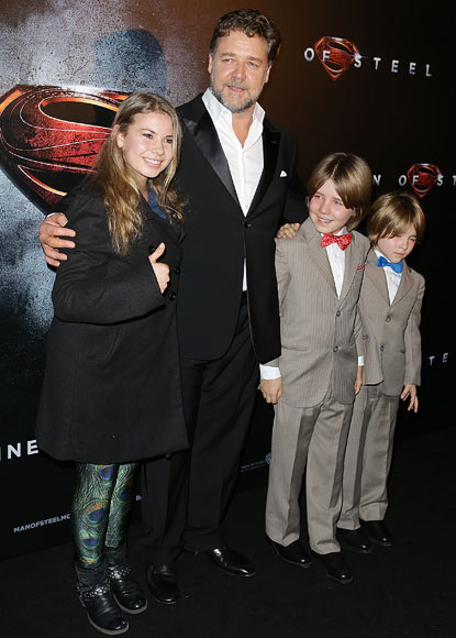 Russell Crowe with Bindi Irwin, and sons Charles and Tennyson