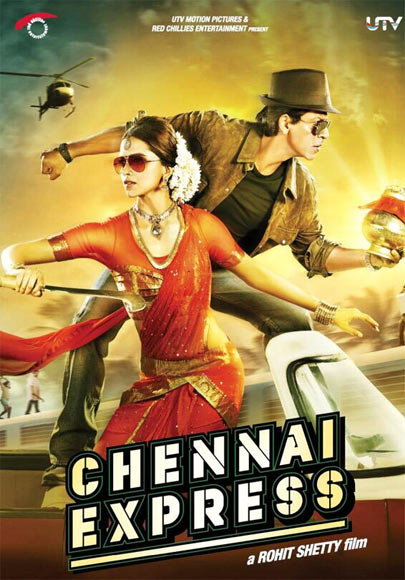 Deepika Padukone and Shah Rukh Khan in the poster of Chennai Express