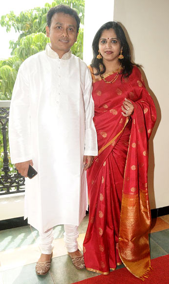 P Unnikrishnan with wife Priya