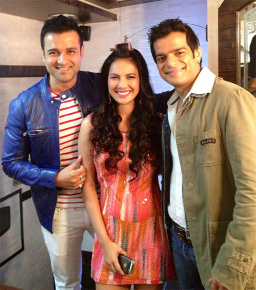 Rohit Roy with former Miss India Rochelle Rao and TV actor Karan Patel