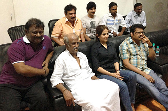Rajniknath, Soundarya R Ashwin and director KS Ravikumar along with the crew