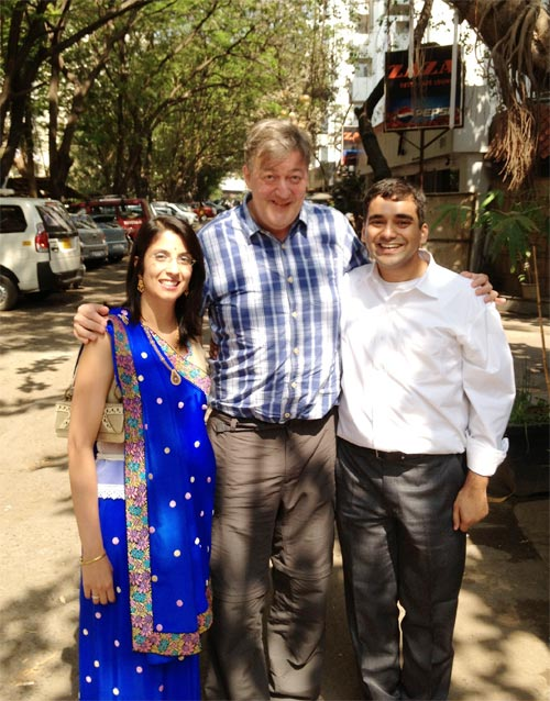 Abhishek Mande and Kermin Bhot with Stephen Fry