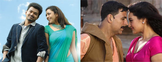 A scene from Thupakki, Sonakshi Sinha and Akshay Kumar in Rowdy Rathore
