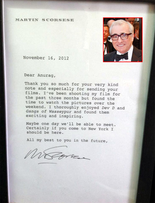 The note. Inset: Scorsese