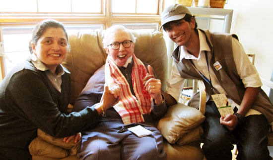Krishna Bala Shenoi with Roger Ebert and mother Sandhya Shenoi