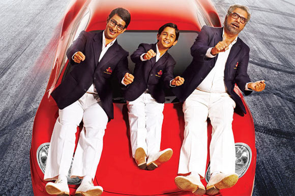 Sharman Joshi, Ritvik Sahore and Boman Irani in Ferrari Ki Saawari