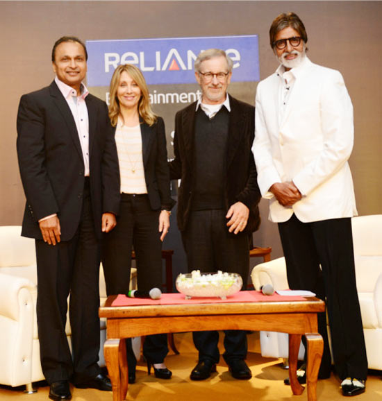 Anil Ambani, Stacey Snider, Steven Spielberg and Amitabh Bachchan