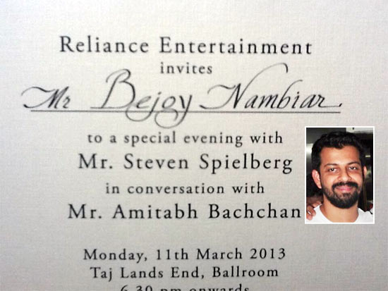 The invite. Inset: Bejoy Nambiar