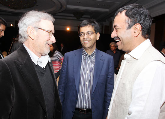 Steven Spielberg, Amitabh Jhunjhunwala, Reliance Big hotshot and its contact person with Spielberg, and Rajkumar Hirani