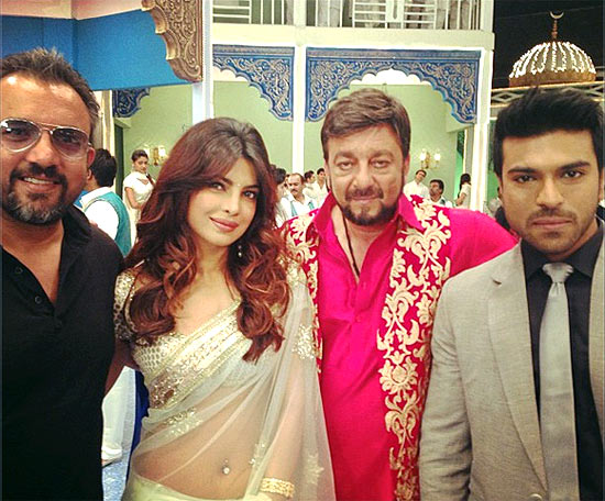 Apoorva Lakhia, Priyanka Chopra, Sanjay Dutt and Ram Charan Teja on Zanjeer sets