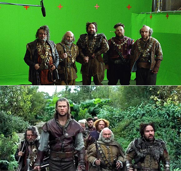 A scene from Snow White and the Huntsman before and after visual effects