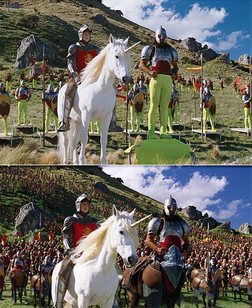 A scene from The Chronicles of Narnia before and after visual effects