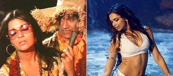 Dev Anand and Zeenat Aman in Hare Rama Hare Krishna, Deepika Padukone in Dum Maaro Dum