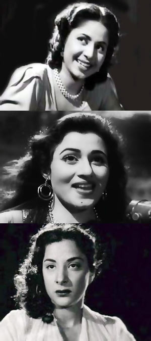 Top to bottom: Geeta Bali, Madhubala, Nargis