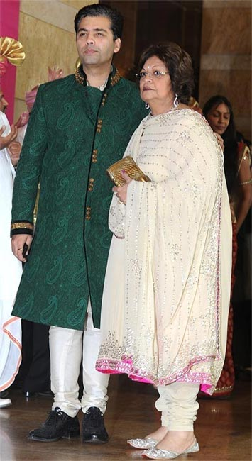 Karan Johar with mother Hiroo